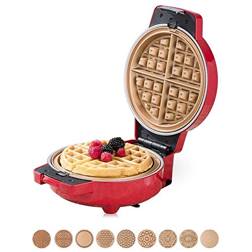 Mini fabricante de gofres Mini Wafflera Sandwich máquina de pan antiadherente de doble cara Calefacción LCD Luces indicadoras, Temperatura Control Automático - 600W 9 conjuntos de bandejas de horno