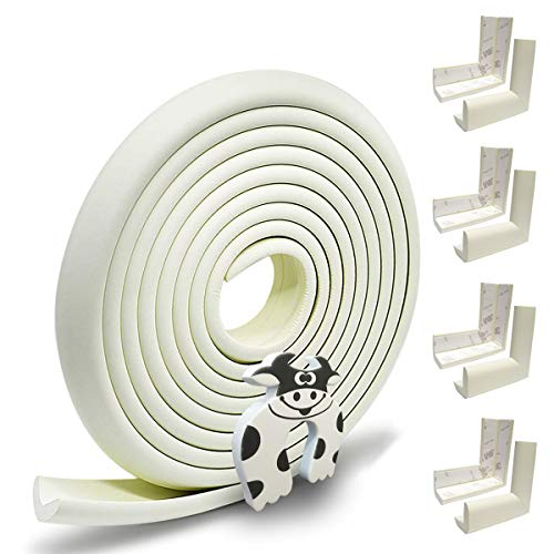 Hoobii | Edge Guard & Corner Protector - Extra Long 19.0ft [16.5ft Edge + 8 Pretaped Corners] with Baby Proofing, Home Safety Furniture Bumper and Table Edge Guards Child Safety [Off White Color]