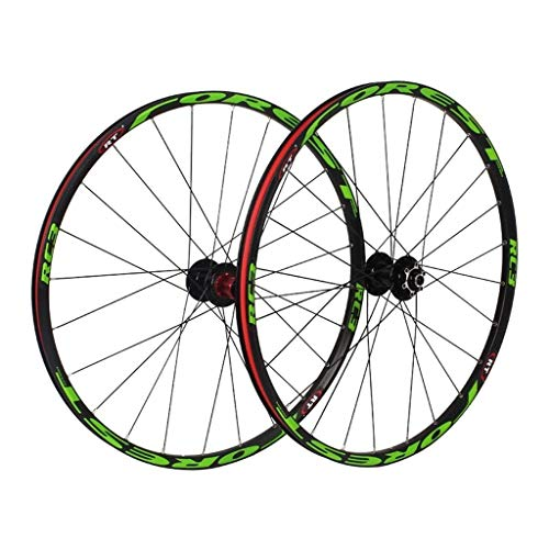 26/27.5 Inch Mountain Bike Wheels,Bike Wheelset,MTB Bike Wheel Set Disc Rim Brake 8 9 10 11 Speed Sealed Bearings Hub Hybrid Bike Touring (Color : Green, Size : 27.5inch)
