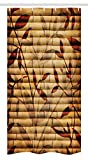 Ambesonne Beige Stall Shower Curtain, Bamboo Stems Background with Leaves and Stems Pattern Print, Fabric Bathroom Decor Set with Hooks, 36' X 72', Beige Pastel