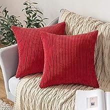 MIULEE Funda de Cojín Fundas de Almohada Decorativa Cuadrado Corduroy Pana a Rayas Moderna Suave para Sofá Silla Cama Sala de Estar DormitorioHogar 45x45cm 2 Piezas Rojo