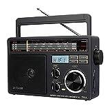 Retekess TR618 Radio Portatile FM AM SW, Radio Analogica a Onde Corte per Anziani, Supporto Disco USB, Scheda TF/SD, con Jack per Cuffie, Alimentazione AC o Batteria (Grigio Scuro)