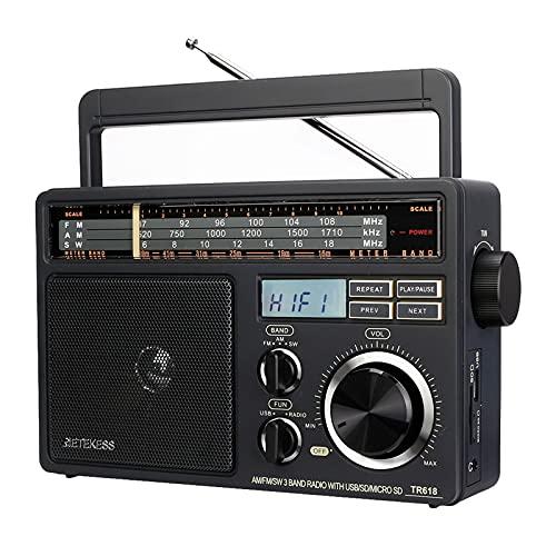 Retekess TR618 FM Am SW Radio Portátil, Radio de Onda Corta para Personas Mayores, Soporte para Disco USB, Tarjeta TF/SD, Reproductor MP3, Altavoz de 3W, Fuente de Alimentación de AC o Baterías 3D
