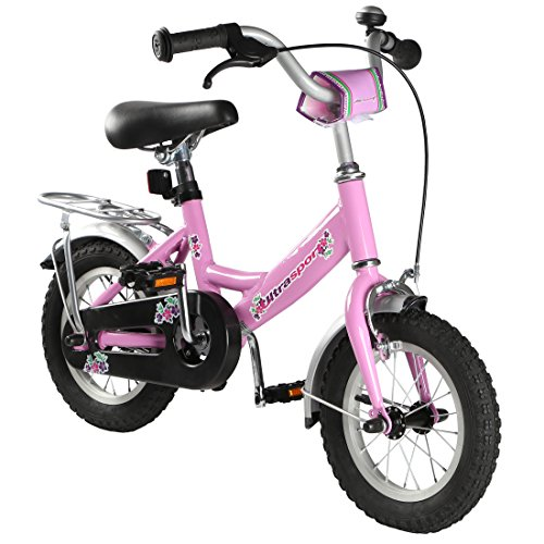 Ultrasport Kinderfahrrad 12 ½ Zoll, rosafarbenes Fahrrad für Mädchen ab 3 Jahre (12,5 Zoll), Kinderrad mit Rücktrittbremse