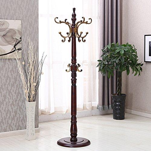 RSWLY Perchero de madera maciza para colgar sombreros, moderno y minimalista, para la oficina, el hogar, perchas verticales, color marrón, blanco (48 x 48 x 200 cm) (color marrón)