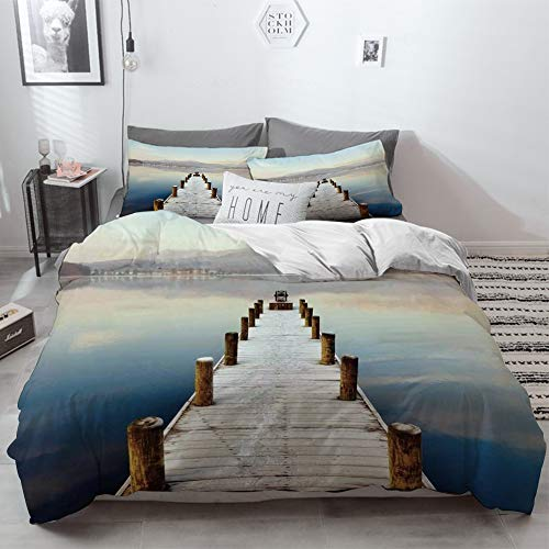 3 Piece Duvet Cover Set No Wrinkle Ultra Soft Bedding Set,Seascape,Wooden Jetty to Lake With Distant Hills Seascape Tranquility Calm Scenery,Whit,2 pillowcase 50 x 75cm 1 Pc Bed sheet 260 x 220cm