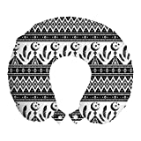 ABAKUHAUS Azteca Cojín de Viaje para Soporte de Cuello, Patrón Luna Trippy Pluma, Cómoda y Práctica Funda Removible Lavable, 30x30 cm, En Blanco y Negro