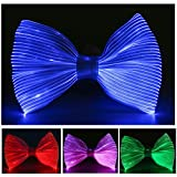 7 Glow Colors LED Light up Bow Tie, USB Rechargeable Wireless Flashing Bowtie, Pre Tied with Adjustable Strap, Optical Fiber Luminous Costume Accessory for Festival Rave Party