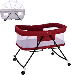 WYVA Multifunctional Baby Bedside Crib Sleeping Cot Bed Travel Cot Baby Bed Bassinet Folding Cot Adjustable Co-Sleepers with Matress and Mosquito Net Red