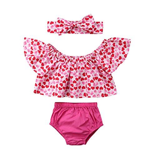 3pcs Newborn Baby Girl Off Shoulder Heart Top Shorts Briefs Summer Outfit 0-24M (Pink, 90)