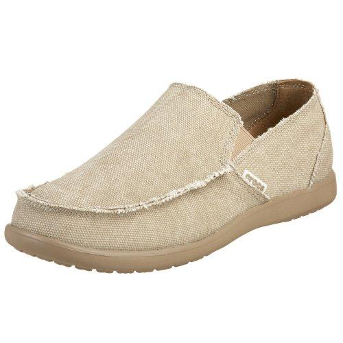 Crocs Men's Santa Cruz Loafer | Comfortable Men's Loafers | Slip On Shoes, Khaki/Hounds To, 8 US Men