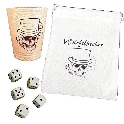 Würfelbecher graviert mit Karten, Würfel und einem Skull inkl. 6 Würfel und Beutel