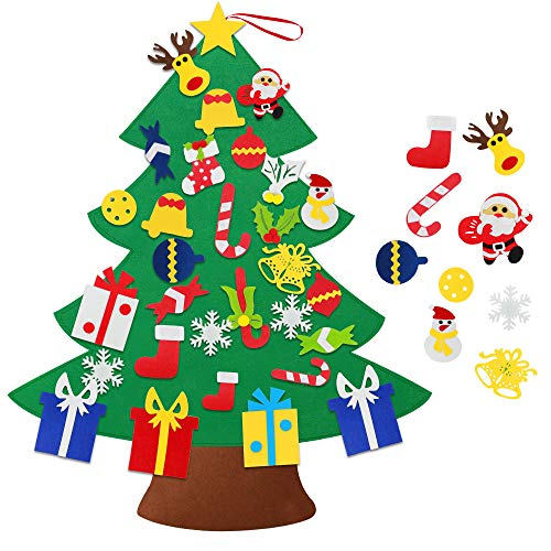 HusDow DIY Felt Christmas Tree, 3.2ft Wall Xmas Trees for Toddlers with 30pcs Detachable Felt Hanging Ornaments Christmas New Year Home Decorations