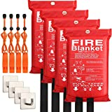 4-Pack Fire Blanket - Fiberglass Fire Blanket Fire Suppression Blanket - Fire Blankets Emergency for People - Fire Safety Blanket with Emergency Whistles - Fireblanket for Kitchen, Home