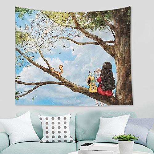 Tapiz de niña linda tapiz para colgar en la pared habitación de los niños tela para colgar decoración Ins Simple pintura de cabecera tapiz de Navidad manta 150x200cm