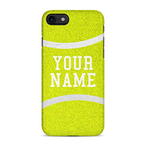 Tennis Ball Case Personalised Customizable Custom Name Iniziale Text Gift Present Custodia Protettiva in Plastica Rigida Case Cover Compatible with iPhone 7/8 / SE 2020