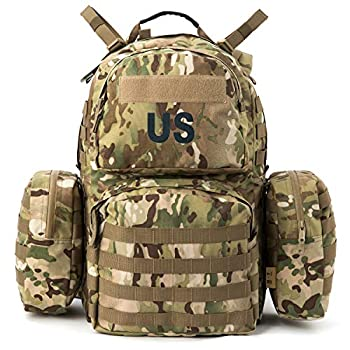Military Army Backpack MOLLE 2 Medium Rucksack with Shoulder Straps and Wasit Belt Internal Frame Multicam