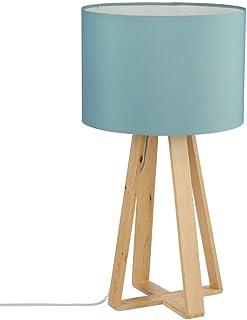 Atmosphera Lámpara de Mesa con pie de Madera Natural, Pantalla de Color Azul