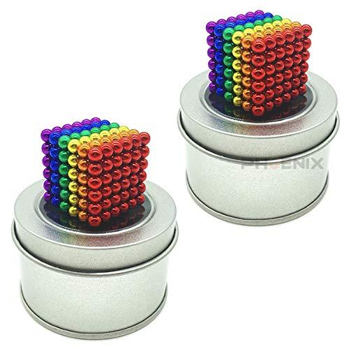 マグネットボール 5mm 216個 2セット おもちゃ 知育 強力磁石 球型 立体パズル 5カラー マグネットボール216個x2,カラフル