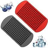 2PCS Mini Bandeja Para Cubitos de Hielo, bandejas de cubitos de hielo de silicona con 160 cuadrículas, forma cuadrada, para congelador, comida de bebé, agua, whisky, cóctel y otras bebidas.
