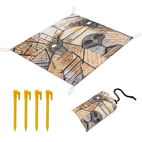 Manta Picnic 200x145 cm Alfombra de Playa con 1 Bolsas y 4 Clavos Fijos Impermeable Plegable Camping Accesorios para la Playa Camping y Picnic - Perro Animal