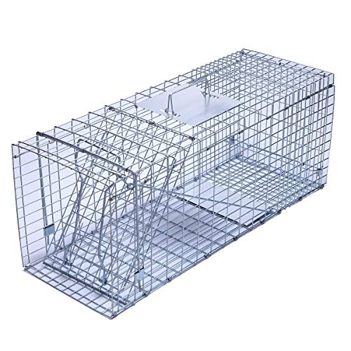 """Trapro XL Collapsible Humane Live Animal Cage Trap for Raccoon, Opossum, Stray Cat, Rabbit, Groundhog and Armadillo - 43"""" x 16"""" x 18"""""""
