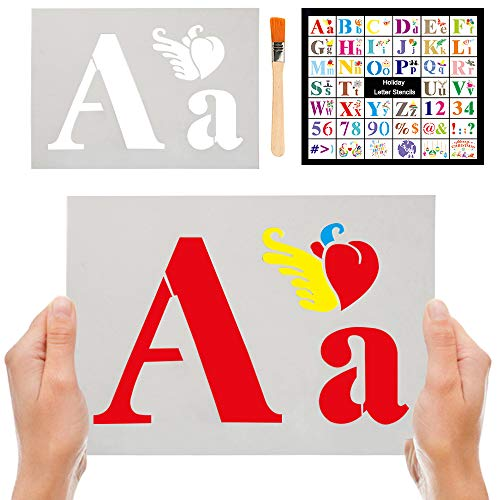 Letter Stencils Larger Alphabet Stencil Calligraphy Font Reusable Plastic DIY Writing Templates Art Craft Drawing for Painting On Wood Chalkboard Signage Bistro Fabric Garden Flag Stone