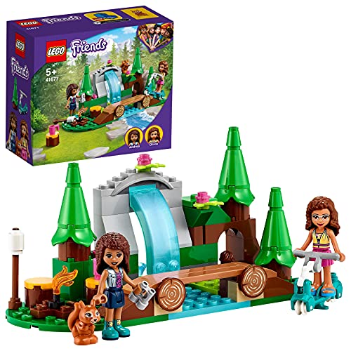 LEGO 41677 LEGO Friends Wasserfall im Wald, Camping Spielzeug ab 5 Jahre mit Mini Puppen