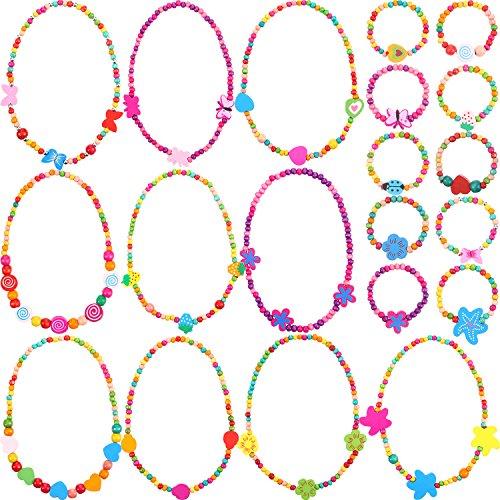 Juego de Collar Pulsera de Princesa Favores de Fiesta de Niñas Pequeñas 10 Piezas de Colecciones de Bisutería de Madera Coloridas (Estilo 1)