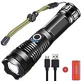 Torcia LED XHP70 Super Luminoso 5000 Lumens, USB Ricaricabile 5 Modalità Potente Torcia Elettrica Zoomable Impermeabile con Indicatore di Alimentazione per Attività All'aperto in Campeggio