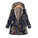 Armfre Tops Women's Vintage Floral Hooded Coat Thick Plush Fuzzy Lined Parka Coat Zip up Long Sleeve Pea Coats Jacket Loose Winter Warm Anorak with Pockets