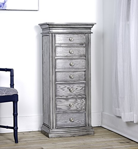 Hives & Honey Luke Wood Jewelry Cabinet Armoire Storage Box Chest Stand Organizer Necklace Holder in Smoke Grey