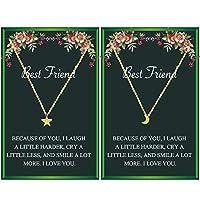 フレンドギフト 星と月 チョーカー 友情ネックレス 2人用 親友 メッセージカード付き ギフト