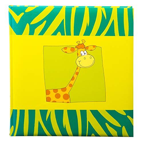 goldbuch 27037 Kinderalbum, Safari Giraffe, Album 30 x 31 cm, Fotoalbum 60 weiße Seiten mit Pergamin-Trennblättern, Fotobuch Kunstdruck laminiert, Babyalbum Grün / Gelb