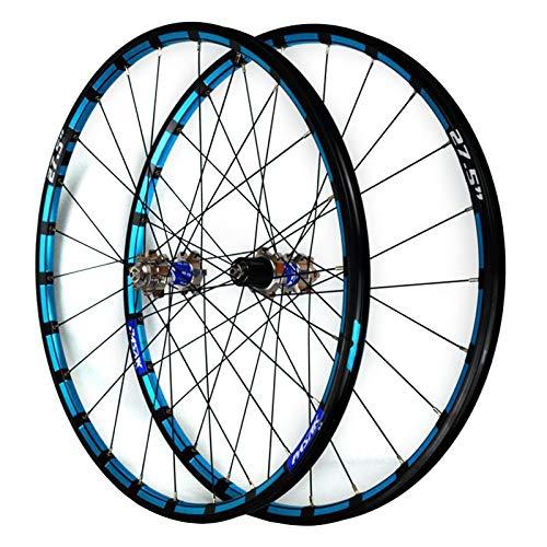 ZFF Bicicleta Montaña Juego De Ruedas 26/27,5 Pulgadas CNC Color Borde Freno Disco MTB Frente Posterior Rueda 7 8 9 10 11 12 Velocidades Casete Liberación Rápida (Color : Blue b, Size : 27.5in)