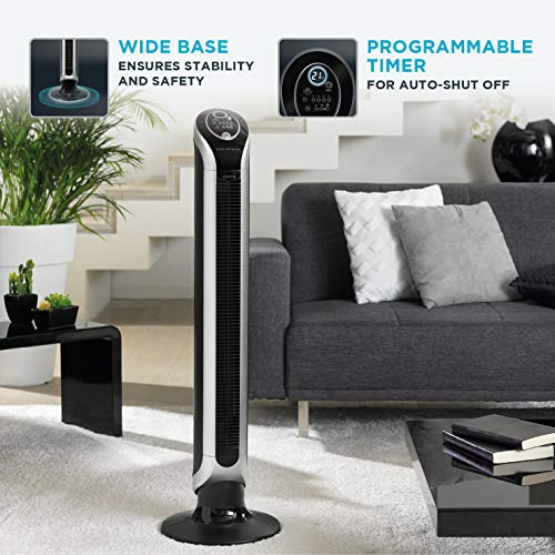 Rowenta EOLE Infinite VU6670, Digital Oscillating Tower Fan with a Remote for Home and Office, 3 Speed Settings, 8 Hour Timer, 43 dBA, Black & Silver