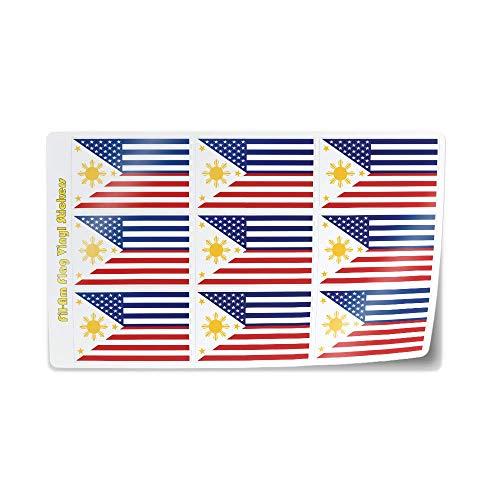Filipino American Flag Mini Sticker Sheet Decals USA Philippines FilAm Fil-Am Pinoy