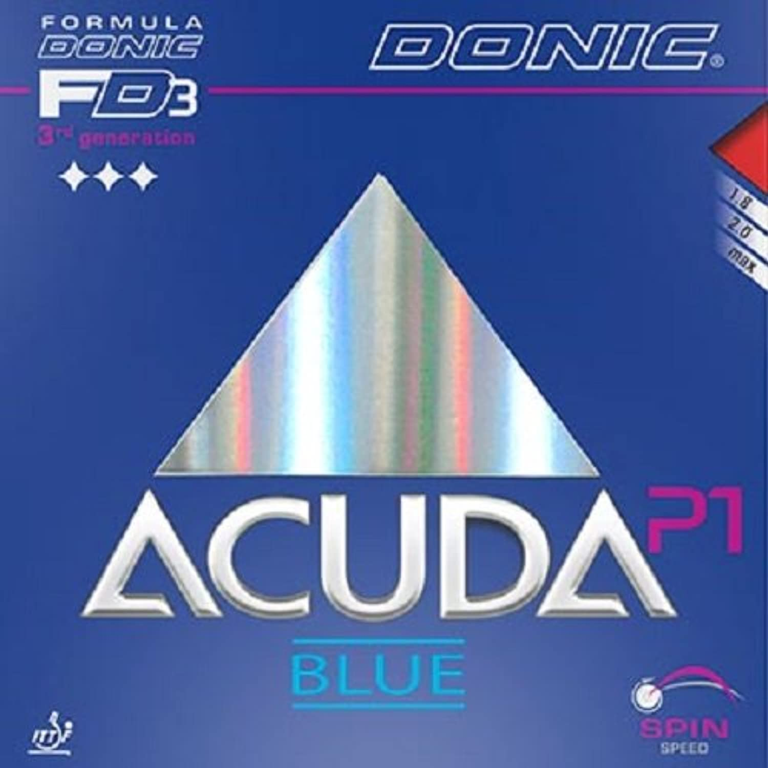 Donic Rubber Acuda blueee P1, 2.00 mm red and black