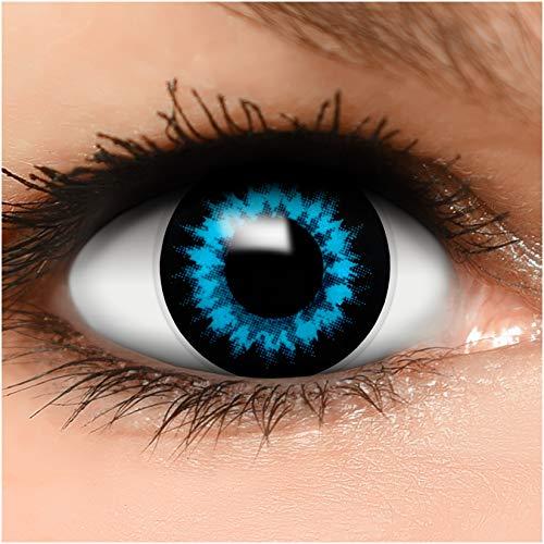 Farbige Kontaktlinsen Eisfee in blau + Behälter - Top Linsenfinder Markenqualität, 1Paar (2 Stück)