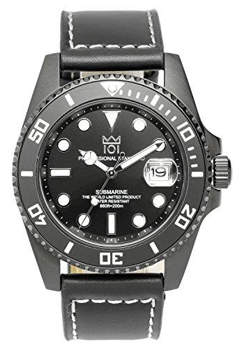 [HYAKUICHI 101] ヒャクイチ ダイバーズ 20気圧防水 腕時計 ウォッチ デイト 逆回転防止ベゼル レザーベルト メンズ