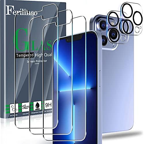 Ferilinso Protector de Pantalla Diseñado para iPhone 13 Pro Max, 3 Piezas HD Cristal Templado con 2 Piezas Protector de Lente de cámara, Funda Amistoso, Dureza 9H, 6.7 Pulgadas 5G, Sin Burbujas