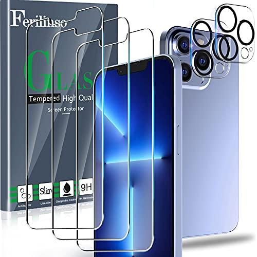 Ferilinso Designed for iPhone 13 Pro Max Screen Protector, 3 Pack HD Tempered Glass with 2 Pack Camera Lens Protector, Case Friendly, 9H...