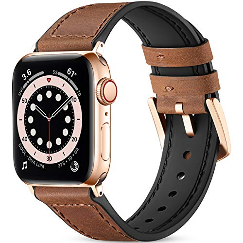 Vobafe Leather Strap Compatible with Apple Watch Strap 38mm 40mm 42mm 44mm, Soft Leather with Silicone Watch Strap Replacement Wristband for iWatch Series 6/5/4/3/2/1 SE, 42mm/44mm Brown/Golden