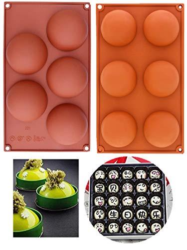 34 Inch And 275 Inch Circle Ball Round Holes Silicone Mold For ChocolateCakeDessertsBaking DIYCupcake Baking Pan kitchen Bakeware2 pcs