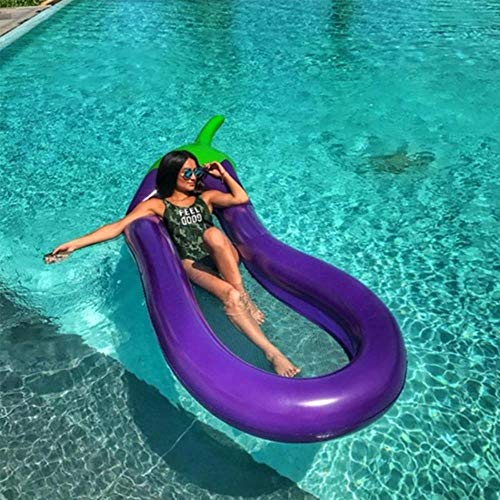 FTFSY Summer Swimming Pool Floating Inflatable Eggplant  Mattress Swimming Ring Circle Island Cool Water Party Toy boia Piscina Child