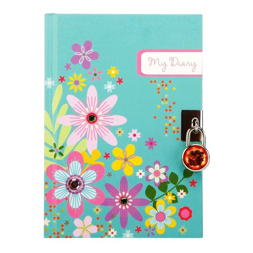 C.R. Gibson Pink, Blue and Yellow Floral One Year Diary with Lock, 192 pgs, 5'' W x 7'' H.