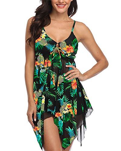 Temptme Womens Green Floral Mesh Flowy Tankini Floral Swimdress Two Piece Swimsuits Swim Dress with Boyshort