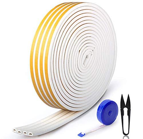 RATEL 30m / 98.4ft Dichtungsband für Türen, Türdichtung Fenster Kollisionssicher-Dichtungsstreifen mit 1 Schere und 1 Maßband zum Blockieren von Rissen und Lücken (weiß)