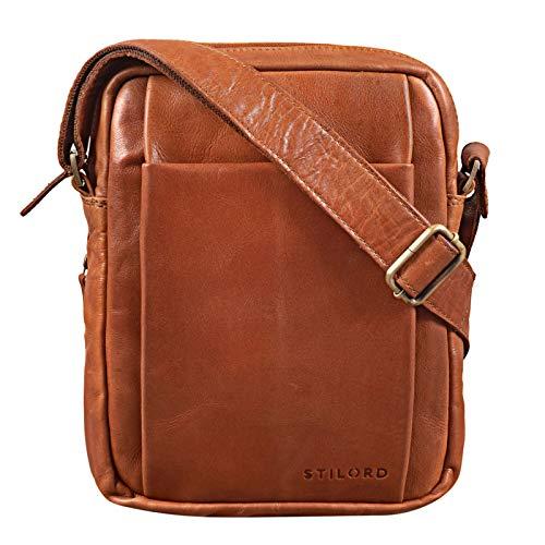 STILORD 'Harry' Vintage Schultertasche Männer Leder für 10,1 Zoll Tablet Umhängetasche DIN A5 Herren-Handtasche Messenger Bag mit 2 Hauptfächern, Farbe:Cognac - glänzend