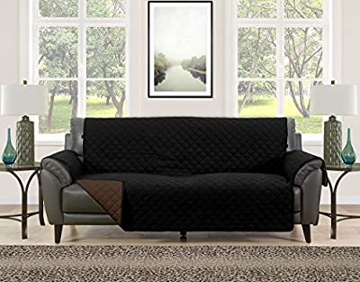 Blissful Living Reversible Non-Slip Couch Cover - Perfect Slipcover to Protect your Furniture from Pets and Kids, Elastic Strap to secure Fit on Couches, Loveseats, & Chairs